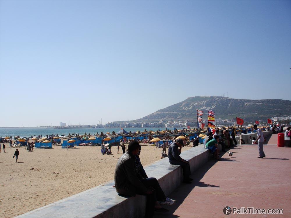 Agadir beach, inscription on a hill