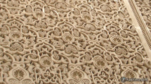 Traditional stone carving in madrasa