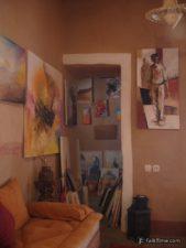 Modern paintings in Moroccan kasbah