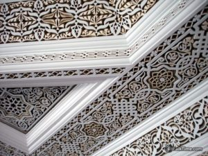 Ceiling with stone-carving