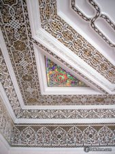 Ceiling with stone-carving and illumination