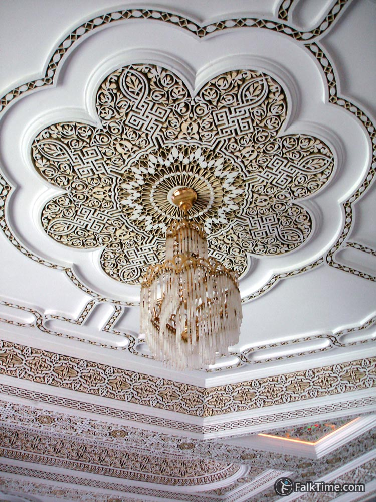 Chandelier and stone carving