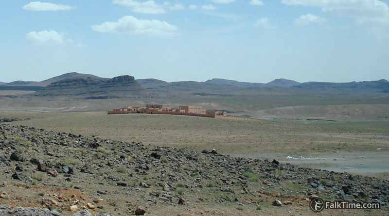 Kasbah out of nowhere, desert of Morocco